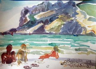 Коктебель. Пляжные наброски № 36