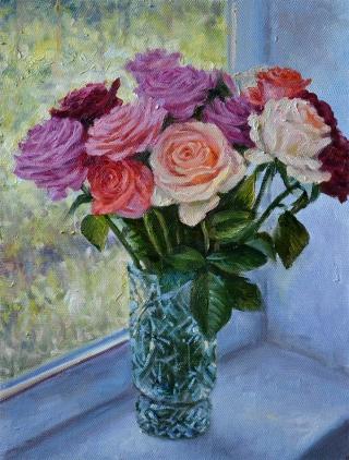 Розы на подоконнике.
