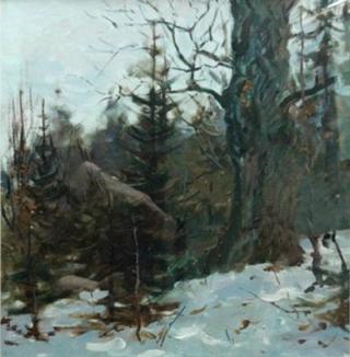этюд. Зимний лес