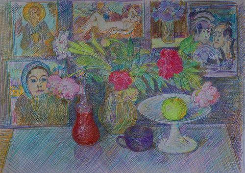 Натюрморт с картинами и рябиной