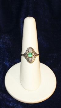 Кольцо с бриллиантами,изумрудом