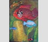 Красная рыба и золотой коралл