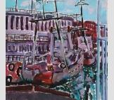 В порту корабли и лодки.