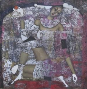 Девушка с яблоком (на серебряном фоне)