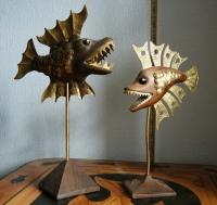 Декоративные скульптуры Рыбки металл дерево