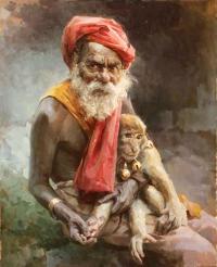 Индус с обезьянкой