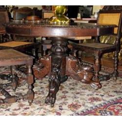 Охотничий стол и 6 стульев в стиле Ренессанс