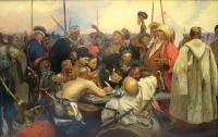 Казаки пишут письмо турецкому султану. Копия с картины И.Репина