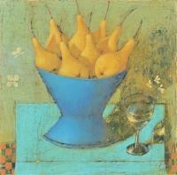 Желтые груши в синей вазе