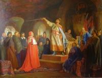 Роман Галицкий принимает послов папы Иннокентия III Копия с картины Н.Неврева