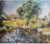 Гуси на пруду в деревне