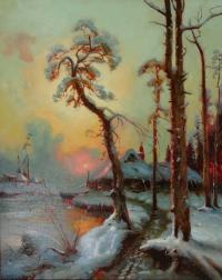 Закат солнца. Копия с картины Ю.Клевер 5035 хм 12000