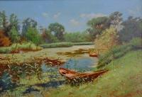 Пейзаж с лодкой. Копия с картины Киселева