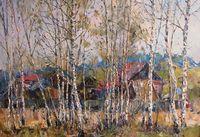 Деревенька в берёзовом лесу