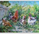 Петух и куры у двора