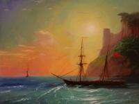 Берег моря. Копия с картины И.Айвазовского