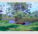 Лето. Красная лодка у реки.2001г.