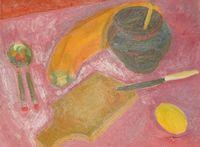 Натюрморт с доской на розовом