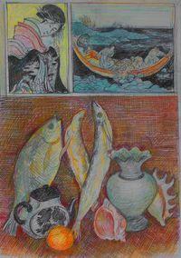 Натюрморт с японской гравюрой и рыбами