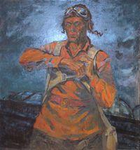 Герой советского союза Першутов перед боевым вылетом